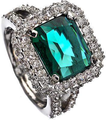 ABS by Allen Schwartz Emerald Crystal Holiday Gems Cocktail Ring