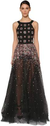 Elie Saab EMBELLISHED TULLE LONG DRESS