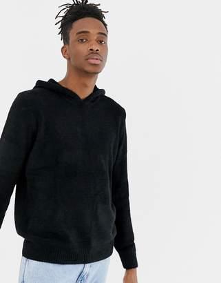 Pull&Bear chenille hoodie in black