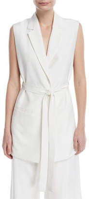 Rosetta Getty Notch-Lapels Tie-Waist Fluid Shantung Vest w/ Side Slits