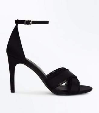 New Look Black Satin Fray Cross Strap Stiletto Sandals