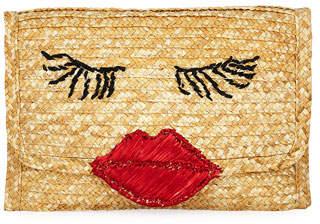 Felix Rey Raffia Lips Clutch Bag