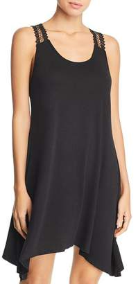 J Valdi Luxe Jersey Crochet-Racerback Swim Cover-Up