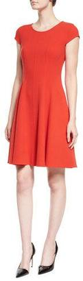 Armani Collezioni Cap-Sleeve Fit-&-Flare Dress, Red $1,595 thestylecure.com
