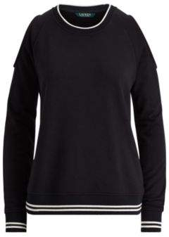 Ralph Lauren French Terry Cold-Shoulder Top Polo Black Xs