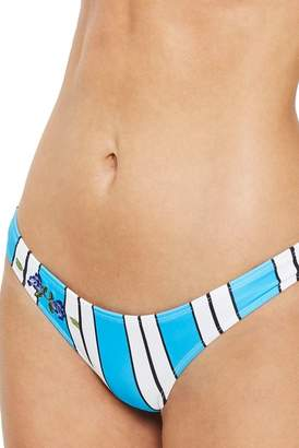 Topshop Stripe Floral Embroidered High Leg Bikini Bottoms