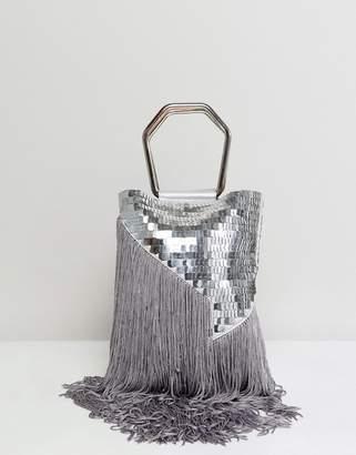 Asos Design DESIGN sequin fringe grab clutch bag