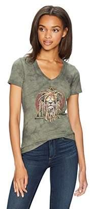 The Mountain Women's Tri-Blend V-Neck Dj Lion Retro T-Shirt