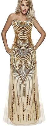 Ur-fashion Women's 1920s Strapless Lace Wedding Evening Dress US