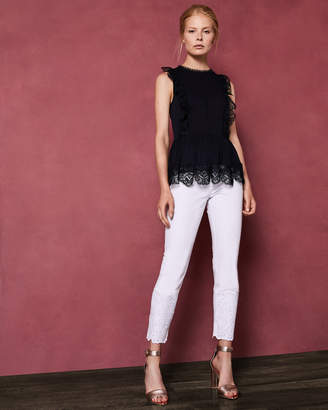 Ted Baker OMARRI Mixed lace peplum sleeve top