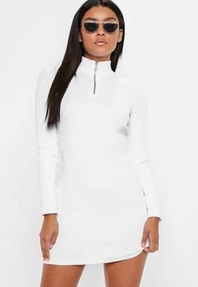 Missguided White Zip Front Bodycon Mini Dress