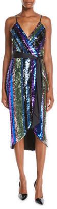 Aidan Mattox Sequin Stripe Sleeveless Wrap Dress