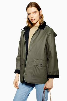 Topshop Womens Rain Mac With Corduroy Collar - Khaki