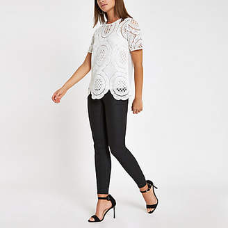River Island Womens White loose fit lace T-shirt