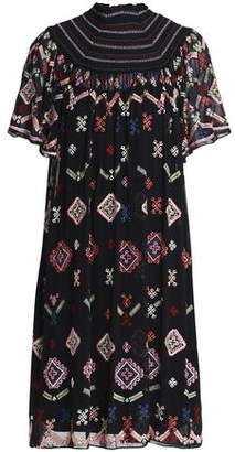 Needle & Thread Smocked Embroidered Chiffon Dress