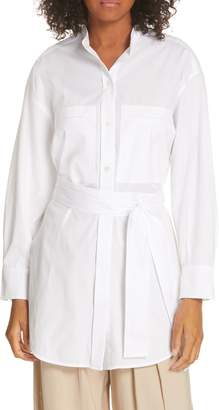 Vince Belted Oversize Cotton Blouse