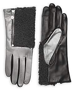 Carolina Amato Women's Touch Tech Metallic Leather & Shearling Gloves