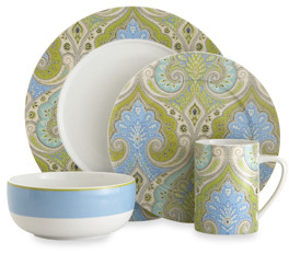 Bed Bath & Beyond Echodesign Lakita Seafoam 4-Piece Porcelain Dinnerware Set