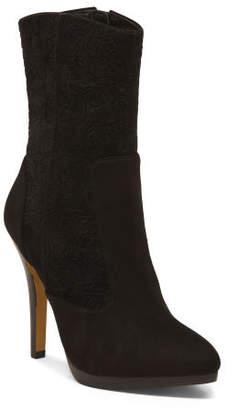 Velvet Ankle Booties With Stiletto Heel