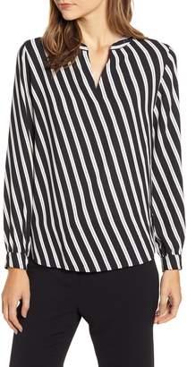 Anne Klein Diagonal Stripe Split Neck Blouse