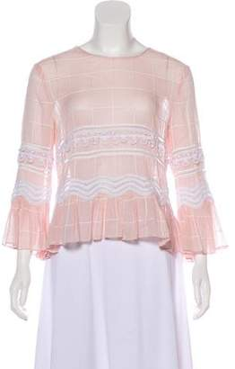 Jonathan Saunders Striped Embroidered Top
