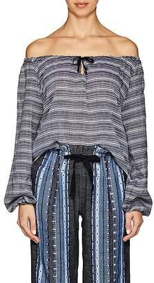 Lemlem Women's Aden Striped Cotton Off-The-Shoulder Blouse - Gray