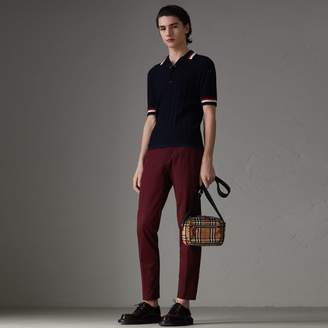 Burberry Stripe Detail Cable Knit Wool Polo Shirt