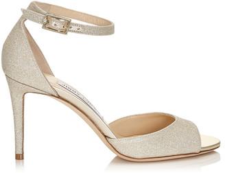 f152d07e3330 Jimmy Choo ANNIE 85 Platinum Ice Dusty Glitter Peep Toe Sandals