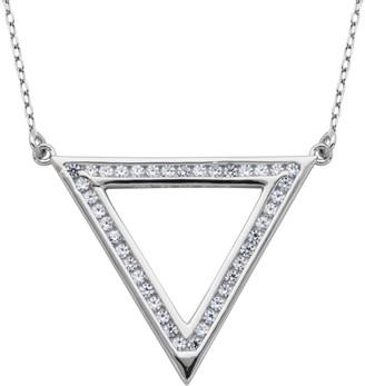 "Diamonique 1/2 cttw Open Triangle 18"" Necklace,Sterling"