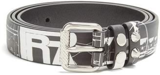 Prada Comic strip-print skinny leather belt