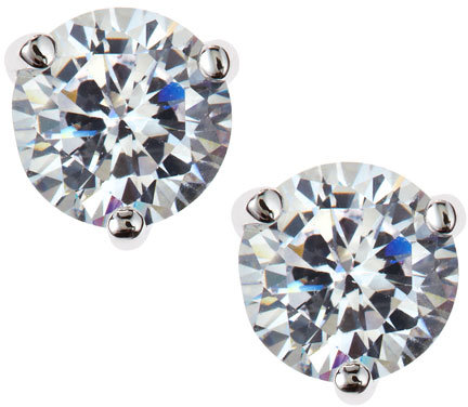 CZ by Kenneth Jay Lane Round Cubic Zirconia Stud Earrings, 2 CT