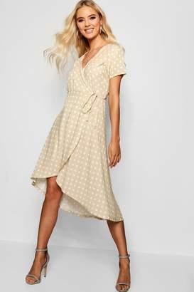 boohoo Francesca Polka Dot Wrap Midi Dress