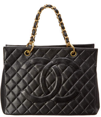 Chanel Black Quilted Caviar Leather Timeless Cc Tote