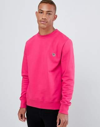 Paul Smith zebra logo crew neck sweat in pink