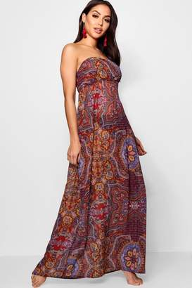 boohoo Paisley Print Sheared Beach Maxi Dress