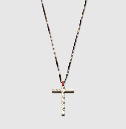Gucci Necklace With Diamante Pattern Engraved Cross Pendant