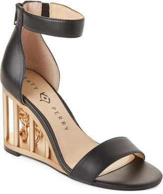 Katy Perry Black Leon Caged Wedge Sandals