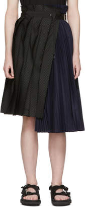 Sacai Navy and Black Pinstripe Skirt