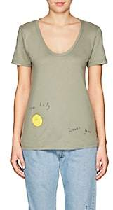 "Barneys New York Haas Brothers Xo Women's ""Sun Body Loves You"" Pima Cotton T-Shirt-Dk. Green Size S"