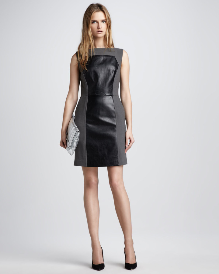 Milly Nina Colorblock Leather Dress, Slate