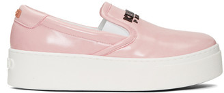 Kenzo Pink Faux-Leather Sneakers $345 thestylecure.com