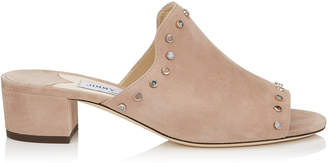Jimmy Choo MYLA 35 Ballet Pink Suede Mules with Stone Effect Studs