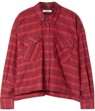 Etoile Isabel Marant Delora Cropped Checked Cotton-flannel Shirt