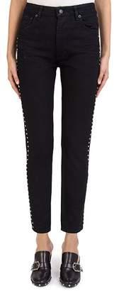 The Kooples Rhinestone Studded Mid-Rise Ankle-Length Slim Jeans in Black