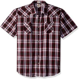 Ely & Walker Men's Short Sleeve Plaid Western Shirt-Big