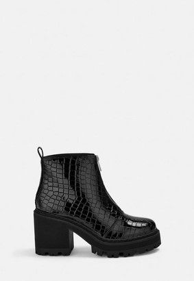 Missguided Croc Texture Chunky Heeled Ankle Boots