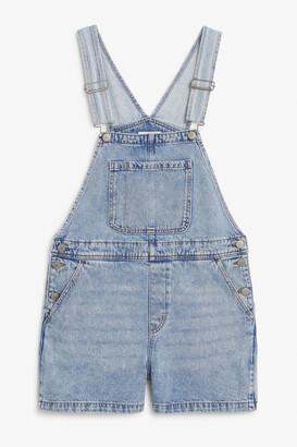 Monki Denim dungaree shorts