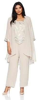 Le Bos Women's Size Sequin embroiodered 3 pc Pant Set Plus