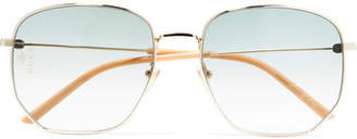 Gucci Hexagon-frame Gold-tone And Acetate Sunglasses - Yellow