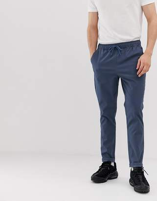 Asos Design DESIGN tapered chinos in dark blue with elastic waist